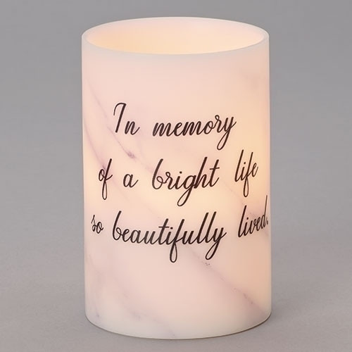 """From the Copper Collection, this LED Marble Candle with Saying: In memory of a bright life so beautifully lived"""" is a perfect bereavement gift."""
