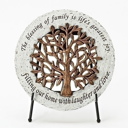 """""""Tree of Life"""" Garden Stone. The Tree of Life Garden Stone sits on an easel for easy display around the house. The Tree of Life Garden Stone measure 6.5""""dia. The words """"The blessing of family is life's greatest joy,  Filling our home with laughter and love"""" surround the Tree of Life Garden Stone. A welcome addition to any Irish household!!"""