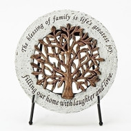 """""""Tree of Life"""" Garden Stone. The Tree of Life Garden Stone sits on an easel for easy display around the house. The Tree of Life Garden Stone measure 6.5""""dia. The words """"The blessing of family is life's greatest joy,  Filling our home with laughter and love"""" surrount the Tree of Life Garden Stone. A welcome addition to any Irish household!!"""