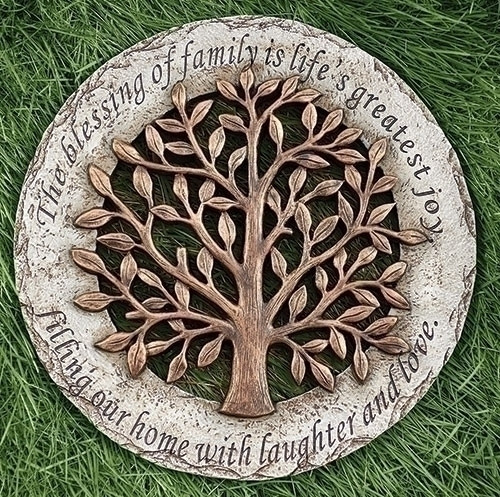 """The Tree of Life 12.2""""D"""" Round Garden Stone. The Tree of Life Garden Stone is made of a resin/stone mix. The Tree of Life Garden stone has a lovely saying wrapped around the edges of the stone that says: """"The blessing of family is life's greatest joy. Filling our home with laughter and love."""" Perfect for any housewarming gift!"""