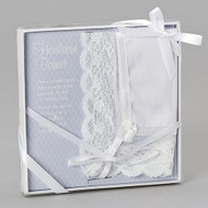 """A Special and Unique Baptism gift. Baptism and Christening Bonnet is made of cotton and nylon fabric with a pearl accent and satin tie. The bonnet can be stored and used as Wedding hanky when she grows up! Hankie measures 12X12"""" without the Lace. Can be embroidered with name and date of baptism.  Comes gift packaged with gold ribbon and clear plastic top."""