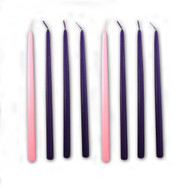 "These tiny taper candles are perfect for your Advent wreath that requires candles that are 1/2""D. The candles stand 9""H. Set includes 6 Purple candles, and 2 Pink candles.  Order yours now to  prepare for the season ahead!"