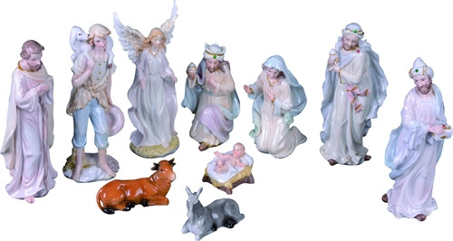 """Procelain nativity measurements are  3.25"""" L x 2.25"""" W x 8"""" H. Pieces included: The Holy Family, The Three Kings, a Standing Angel, a shepherd, a donkey and an ox. Painted in pastel hues."""