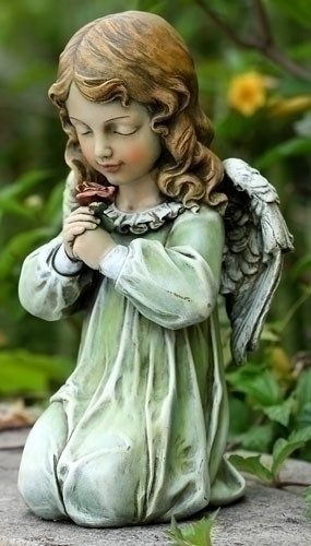 "12"" Kneeling Angel Garden Statue. Dimensions: 12""H x 6.5""W x 6.25""D ~ Resin Stone Mix"