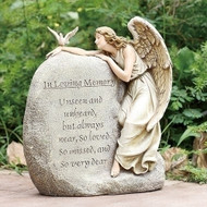 "12.5"" In Loving Memory Angel Garden Stone. ""Unseen and Unheard but always near, so loved so missed, and so very dear.""  Resin/Stone Mix. Dimensions:  11.25""H x 9.5""W x 5.25"" D"