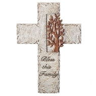 "9.75"" Tree of Life Wall Cross. Made of dolomite/resin. Bless this Family is written on the lower end of the cross."