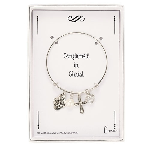 Adjustable Confirmation Bangle Bracelet. Comes iwth Holy Spirit and heart charm, a pearl and crystal heart.