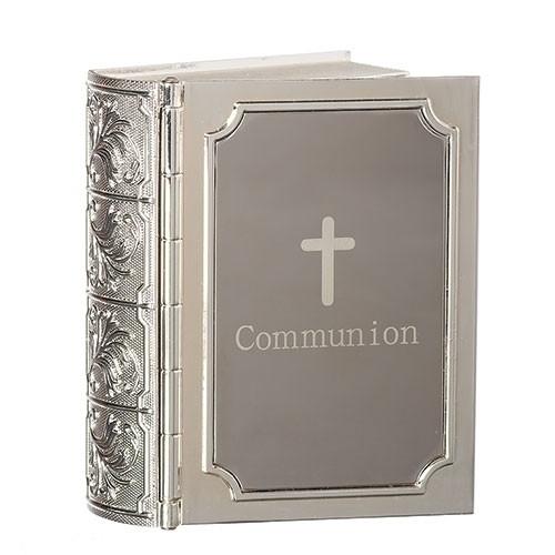 """Communion Bible Keepsake 3.5"""" Box. Made of zinc alloy-lead free"""