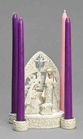 "Celebrate the advent season with this 7""H white, classic, papercut style Advent candle holder. The figurine at the center shows a detailed and gorgeously designed Mary and Joseph looking over baby Jesus, with an intricate backdrop behind them. The four candle holders sit on the outside, with detailed holders. The candles are sold separately and can be found here!  This Advent candle holder is made with resin and dolomite. Dimensions are: 6.89""H x 3.74""W x 5.91""L"
