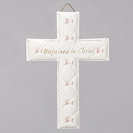 "Bas Relief 6.5"" Baptism Wall Cross.  This Bas Relief Baptism Cross is for a girl. This Baptism Wall Cross gift will be a delightful addition to the baby's nursery. The Baptism Wall Cross comes boxed for Baptism gift giving. The Baptism Wall Cross measures 6.5""H x 4.25""W x .5""D. The Baptism Wall Cross is made of a resin/stone mix."