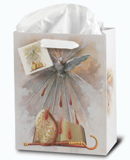 "Confirmation Gift Bags, Glossy, contains tissue paper.  Size dimensions:  Medium "" x 7 3/4"" x 9 3/4""H x 4""D or Small 3 3/4""W x 5""H x 2""D"