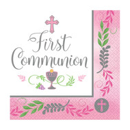 "The words, ""First Communion""  are printed amidst a cross, the Blessed Sacrament, and grapes and wheat. The luncheon napkins measure  7"" x 7'.  There are 36 Napkins per pack.  Pink"