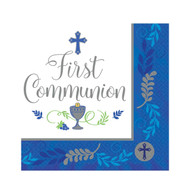 "Add this Beverage napkin to the table for your child's First Holy Communion celebration.  The words, ""First Communion""  are printed amidst a cross, the Blessed Sacrament,  grapes and wheat.  A decorative blue or pink trim stands out around the edge.  This design comes thirty-six to a package.  Additional party supplies in this design are available. Matching cups, plates and luncheon napkins are available!"