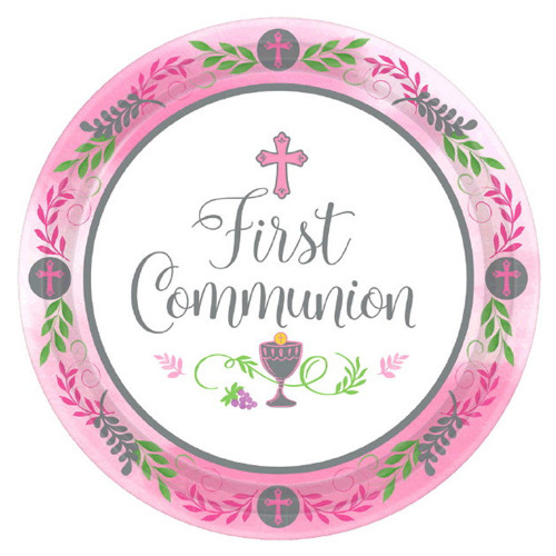 """Featuring a cross at the top, a chalice as the bottom and the words """"First Communion"""" in the center they reflect the special occasion being celebrated. Containing 18 plates, your First Communion Party can mingle around the snack table and you can join in the fun too since clean up with the disposable plates is a breeze. Don't forget to stock up on the rest of the blue or pink Communion party supplies with large dinner plates, beverage napkins, and more!  First Communion Paper Plates: 7"""" diameter; 18 quantity in a package; Royal blue or Pink design"""