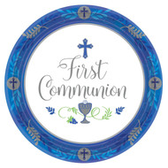 "Featuring a cross at the top, a chalice as the bottom and the words ""First Communion"" in the center they reflect the special occasion being celebrated. Containing 18 plates, your First Communion Party can mingle around the snack table and you can join in the fun too since clean up with the disposable plates is a breeze. Don't forget to stock up on the rest of the blue or pink Communion party supplies with large dinner plates, beverage napkins, and more!  First Communion Paper Plates: 7"" diameter; 18 quantity in a package; Royal blue or Pink design"