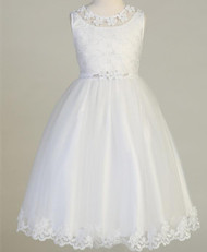 Embroidered tulle bodice Tulle skirt with embroidered trim Tea-length