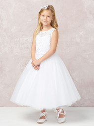 This gorgeous communion dress has an illusion neckline. The bodice is all lace applique. The waist is accented by a rhinestone strip. The back feature's a deep V back and a cover button closure.