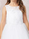 This gorgeous communion dress has an illusion neckline. The bodice has diagonal embroidery with lace accent. Sizes 6x and 8X