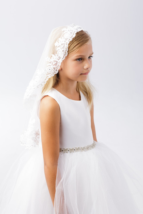 Mantilla Style Communion Veil with raw tulle edge with beading.