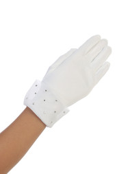 Cuffed White or Ivory Satin Gloves with Scattered Rhinestones. Fits sizes 4-7 or 8-14.
