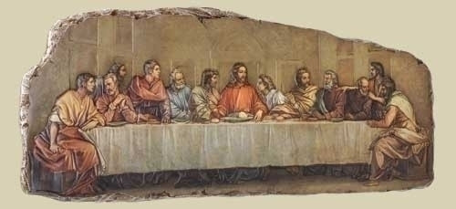 """The Last Supper Plaque. Plaque is an 18.5"""" low relief decal on stone/resin mix plaque."""