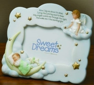 "7"" Sweet Dreams Guardian Angel Photo Frame holds a 3.5""x 5"" photo. Resin and stone mix. dimensions:  7.125""H x 7.25""W"