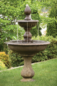 """Two tiered 67"""" Vincenza Fountain.  67"""" H x 40""""W x 14""""BD. Shown in Everglade Stone."""
