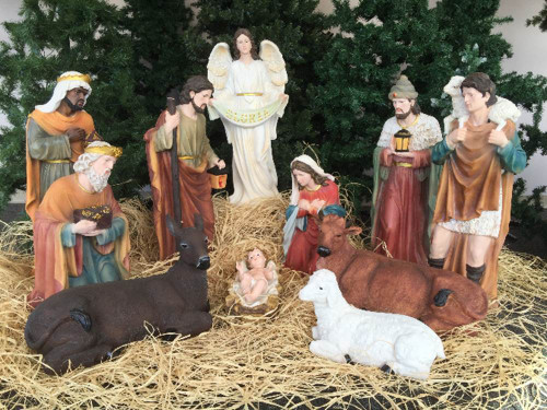 The nativity set comes with 12 figures.  The figures are made with fiberglass and resin construction with outdoor paint.  The 12 piece set can be displayed indoor as a main attraction to your Christmas decorations, or it can be displayed outside to add some unique decorations to your yard. The set comes with the holy family, the three wise men, the angel, the shepherd, and three animals. The camel for this set is sold separately and can be found here!  The average height of the nativity figures is 32 inches.
