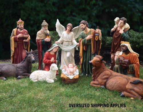"""39"""" Indoor or Outdoor 12 piece Nativity is made of fiberglass and resin construction with outdoor paint. Full round traditionally colored fiberglass figures with removable Jesus. Breathtakingly beautiful detail makes this traditional, fiberglass nativity an elegant edition to your Church or home decor! 41"""" Camel for the set is sold separately. (Item #53419)"""