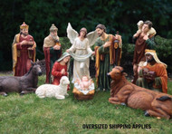 """48"""" Indoor or Outdoor 12 piece Nativity is made of fiberglass and resin construction with outdoor paint. Full round traditionally colored fiberglass figures with removable Jesus. Breathtakingly beautiful detail makes this traditional, fiberglass nativity an elegant edition to your Church or home decor! 41"""" Camel for the set is sold separately. (Item #53419)"""