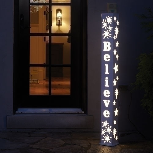 """BELIEVE!  48"""" LED Believe Post for Indoor or Outdoor use. Post stands 48 high. Dimensions are: 48""""H x 5""""W x 5""""D. Post is made of plastic material."""