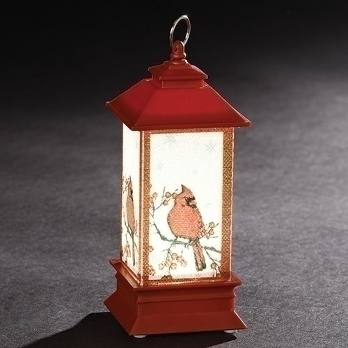 """5"""" LED Lantern with Cardinal Ornament. Ornament is made of plastic and measures 5""""H x 2""""W x 2""""D"""