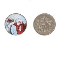 "2 piece Santa Kindness Coin-Pass It On. Made of zinc alloy. 1 1/8"" diameter"