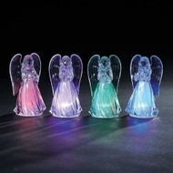 """4.25"""" LED Angel with down swept wings. Colors change to colors shown in picture. Battery operated and included. Made of Acrylic."""