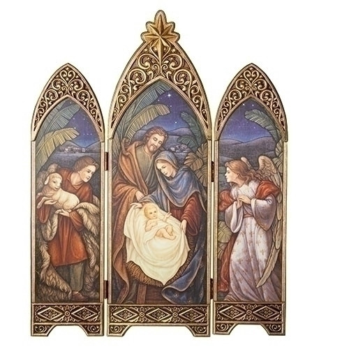 """36.25"""" Nativity Triptych. An angel and a Shepherd with Lamb are the side windows that overlook the Holy Family in the center window. An antique gold star is at the top of the center window. Made of a medium density fiberboard. Dimensions are: 36.25""""H 28.5""""W 0.875""""D"""