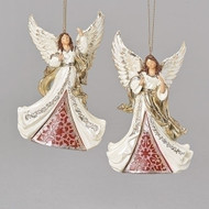 """Laser Cut "" Angel Ornament. Ivory and Gold Angel Ornament is made of a resin/stone mix. Dimensions:  5.5""H x 1.97""W x 3.5""L. Choose Angel looking up or Angel looking down."