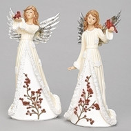 "9.5"" Angel Figure  with Cardinal"