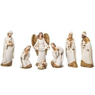 "This gorgeous 7""H Nativity scene is done in Ivory with Gold Leaf finish. Set includes the Holy Family and the Three Kings. A simple and clean look. Set is made of resin and the measurements are 7""H x 2.25""D."