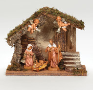 """Fontanini Polymer 5"""" Scale Wedding Creche. This 5 Piece Fontanini Nativity comes with a Stable made of wood,moss, bark and polymer. USB cord for LED lights in stable. Measurements are: 9.5""""H X 12.25""""W X 6.75""""D"""