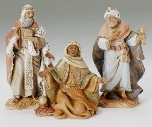 "Fontanini Nativity Three Kings Set, 5 inch Scale.  Beautifully crafted polymer 5"" figures"