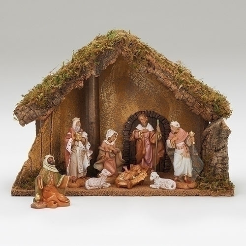 """Fontanini Nativity 8 Piece, 5in Scale Nativity. This 8 Piece Fontanini Nativity comes with an Italian Stable made of wood,moss, bark and polymer. Stable measurements are: 11.22""""H X 15.75""""W X 7.85"""