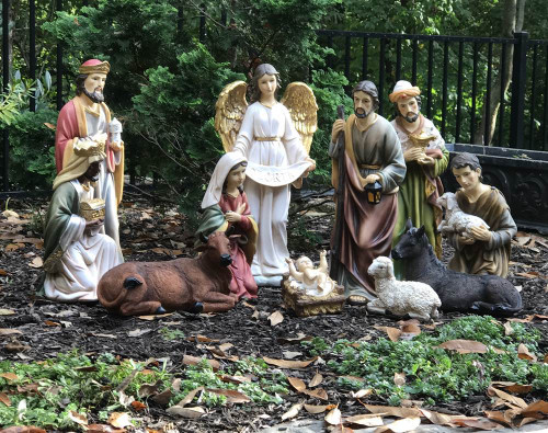"""This 20"""" large scale Nativity Scene is made of a durable fiberglass-resin construction. Full colored, hand painted Nativity figures! This Nativity Set is perfect for indoor and outdoor use! Nativity Set comes complete with 12 Total Pieces;  Mary, Joseph, Infant Jesus (removable from crib), Three Wise Men, Shepherd, Angel, Cow, Donkey, and Sheep. Beautiful detail makes this nativity perfect for your church, School or Institution.  A stable or some sort of cover is recommended for outdoor display. Extra animals such as 17"""" roosters (53379), 16"""" ducks (53378), 25"""" goats (53375), camels (53368) are sold separately."""