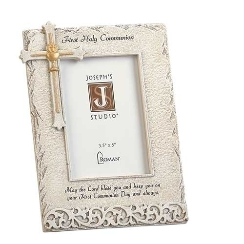 """8"""" Stone Finish Holy Communion Frame adorned with a cross in the upper left hand corner and First Holy Communion written across top of frame. A blessing is also written at the bottom of frame.  Frame measures 8""""H  and holds a 3.5"""" x 5"""" picture."""