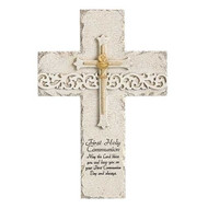 "9.25"" Stone Finish Holy Communion Wall Cross is adorned with a cross in the center.  A blessing is also written at the bottom of frame.  Cross measures 9.25""H. Made of a resin/stone mix."
