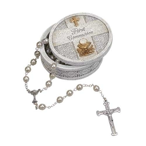 """2.5"""" Stone Finish Holy Communion Keepsake Box. Keepsake box is adorned with a cross at the top and a chalice and wheat symbol on the bottom.  A blessing is also writtenin the middle of the box.  Box measures 2.5""""round. Made of a resin/stone mix. ROSARY NOT INCLUDED!"""