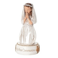 "5.5""H Communion Figurines in prayer. Choose a boy or a girl figure when ordering. Communion Boy or Girl figurines are made of a resin stone mix. They measure  5.5""H 2.5""W 2.5""D. Perfect for a cake topper!!"