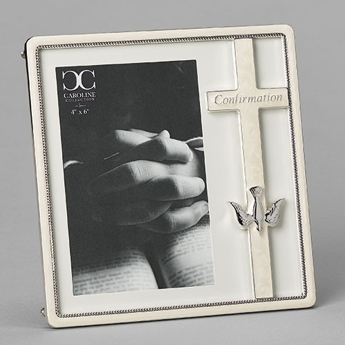 """7.25""""H White Confirmation Frame from the Caroline Collection. Picture Frame is a zinc alloy and is lead free. White Confirmation Frame holds a 4"""" X 6"""" photograph."""
