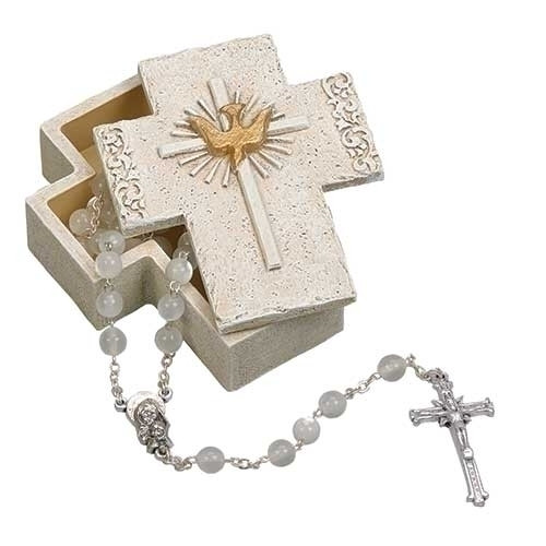 3inH Confirmation Keepsake Box. Made of a resin/stone mix. The top of the box depicts a Cross with Holy Spirit Dove  in the center.  ROSARY IS NOT INLCUDED