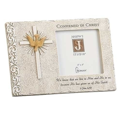 6inH Stone look Confirmation Photo Frame. Made of a resin/stone mix. Confirmed in Christ at the top of the frame with Holy Spirit Dove and Cross to the left of frame. 1 John 4:13 scripture at the bottom of the frame