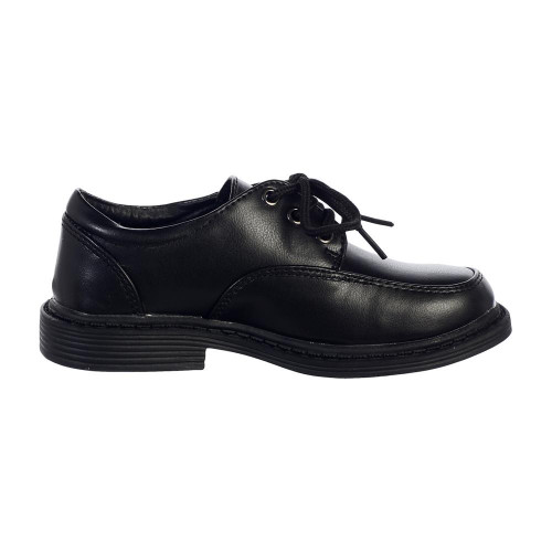 Boy's  Black lace up matte shoes in various sizes.  Youth Sizes 12,  13, 1,  2, 3,  4, and 5
